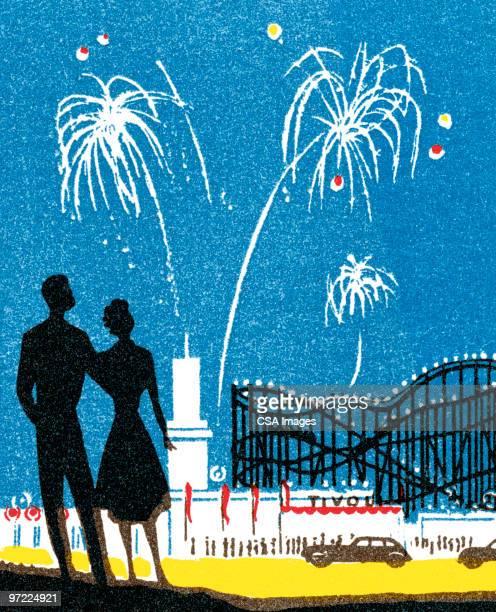 amusement park fireworks - embracing stock illustrations