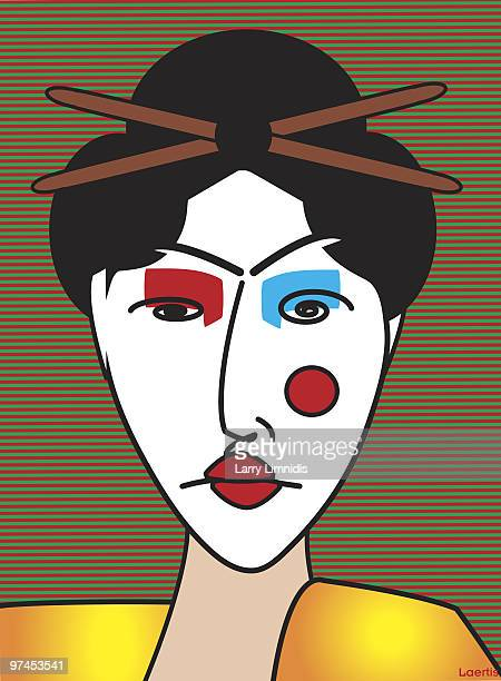 an abstract drawing of a japanese geisha - only japanese stock illustrations, clip art, cartoons, & icons