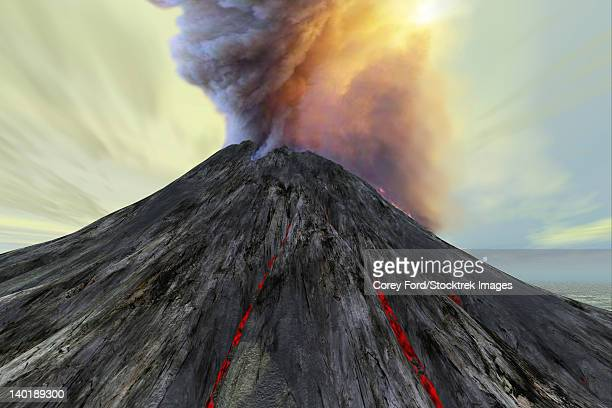 an active volcano belches smoke and ash into the sky. - volcanic crater stock illustrations, clip art, cartoons, & icons