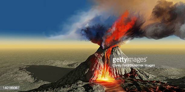An active volcano belches smoke and molten red lava in an eruption.