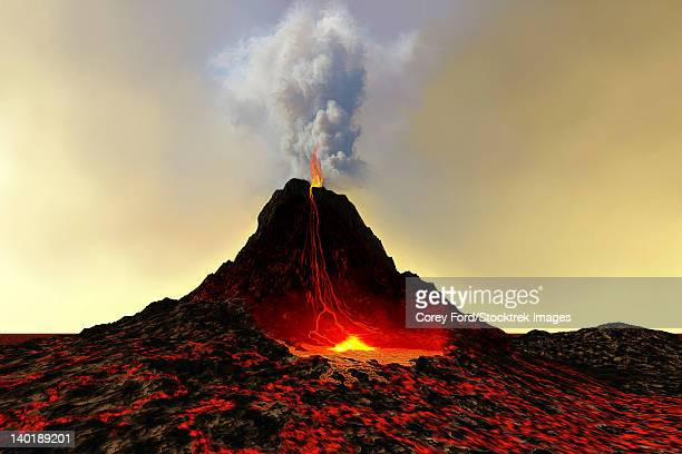 an active volcano spews out hot red lava and smoke. - lava stock illustrations, clip art, cartoons, & icons