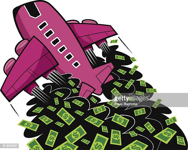 an airplane taking off and leaving a cloud of black smoke filled with money - money down the drain stock illustrations, clip art, cartoons, & icons