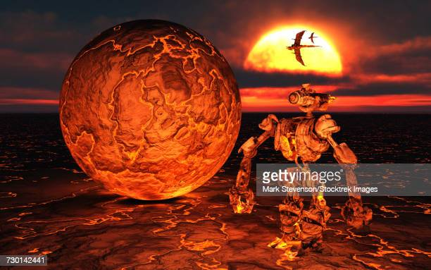 an alien giant robot making the beginnings of a planet. - molten stock illustrations, clip art, cartoons, & icons