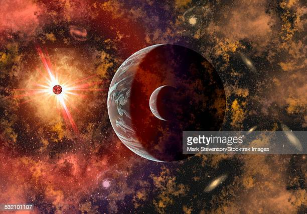 An alien planet and its moon in orbit around a red giant star.
