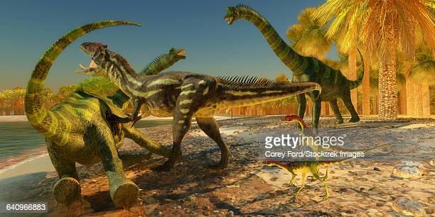 An Allosaurus dinosaur brings down a huge Brachiosaurus.
