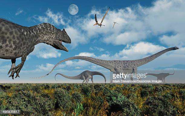 An Allosaurus dinosaur stalking a herd of Diplodocus sauropod dinosaurs during Earth's Cretaceous period of time.