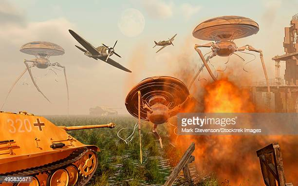illustrations, cliparts, dessins animés et icônes de an alternate reality which sees allied and german forces united in fighting an alien invasion causing a very different world war ii. - violence