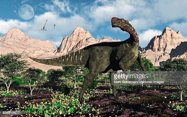 ilustraciones, imágenes clip art, dibujos animados e iconos de stock de an altirhinus dinosaur during the cretaceous period of modern day asia. - paleozoología