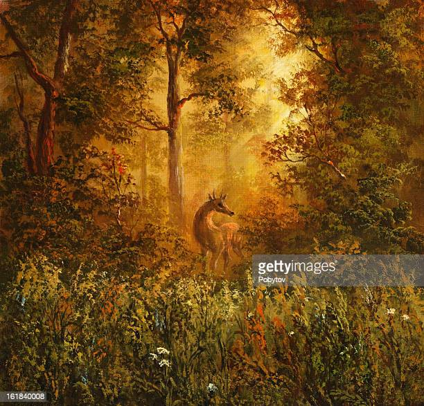 an amazingly illustration picture of a doe in the woods - ethereal stock illustrations, clip art, cartoons, & icons