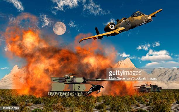 an american a-10 thunderbolt using abandoned tanks as target practice. - us air force stock illustrations, clip art, cartoons, & icons