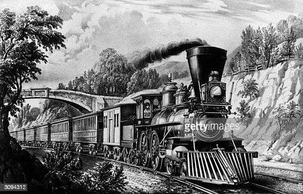 An American Express train. Original Artist: By Currier & Ives.
