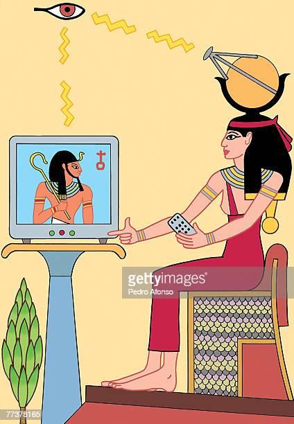 An ancient egyptian watching television via satelite headwear