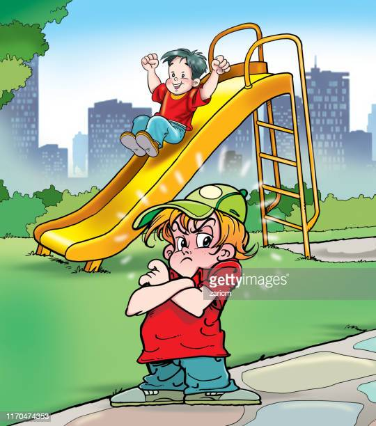an angry boy in the park - sneering stock illustrations, clip art, cartoons, & icons