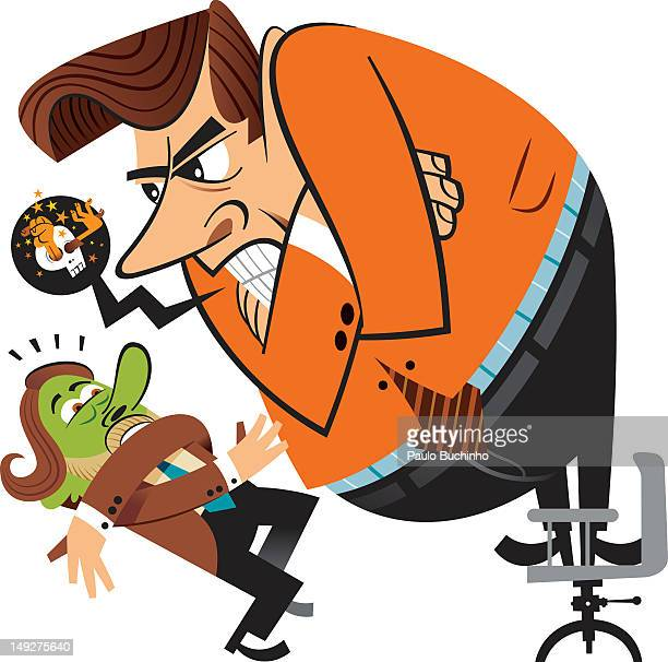 an angry man shouting at a smaller man with a /ngreen face - office politics stock illustrations, clip art, cartoons, & icons