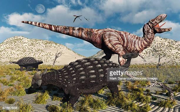 an ankylosaurus defending itself from an attacking tyrannosaurus rex during earths cretaceous period. - thyreophora stock illustrations, clip art, cartoons, & icons