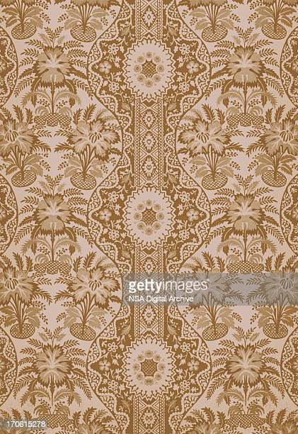an antique textile background in brown  - 19th century style stock illustrations