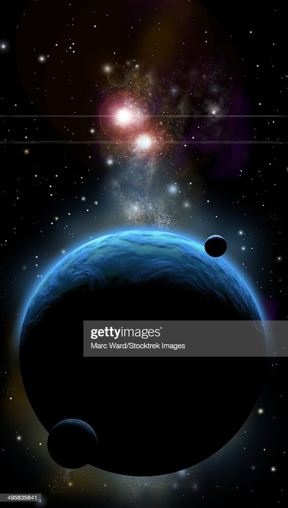 An artist's depiction of a blue planet with a thick atmosphere and it's orbiting small moons. : stock illustration