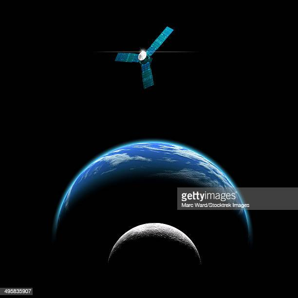 An artist's depiction of a satellite in orbit around an Earth-like world and moon.