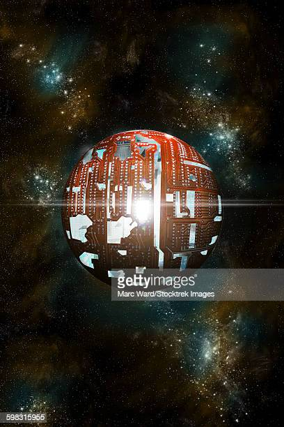 An artists depiction of a theoretical Dyson sphere.