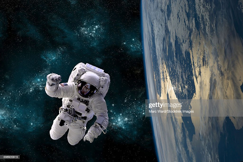 An Artists Depiction Of An Astronaut Floating In Space While