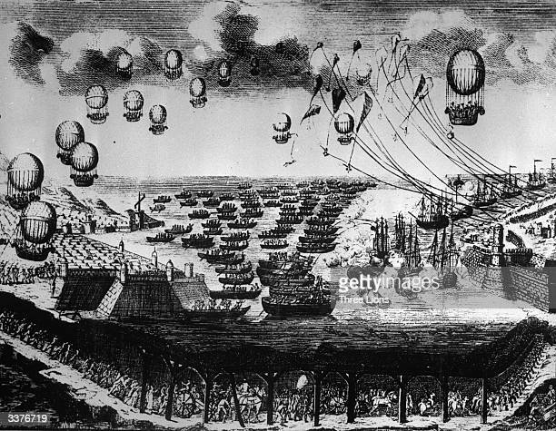 An artist's impression of an imagined invasion of England, by air, sea and tunnel, from the same year that French mining engineer Mathieu submitted...
