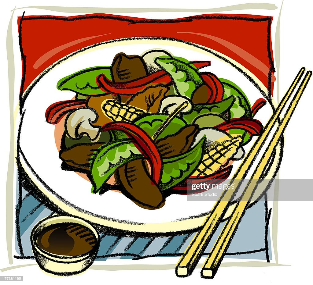 An Asian stir fry dish : Illustration