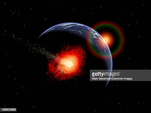 An asteroid hitting the Earth during prehistoric times.