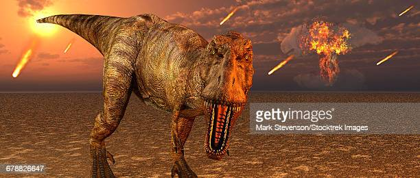 An asteroid hitting the Earth, marking the end of T-rex and all dinosaurs.