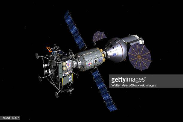 An Asteroid Lander is docked to a Deep Space Vehicle.