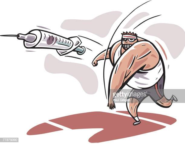 an athlete doing a javelin throw - javelin stock illustrations