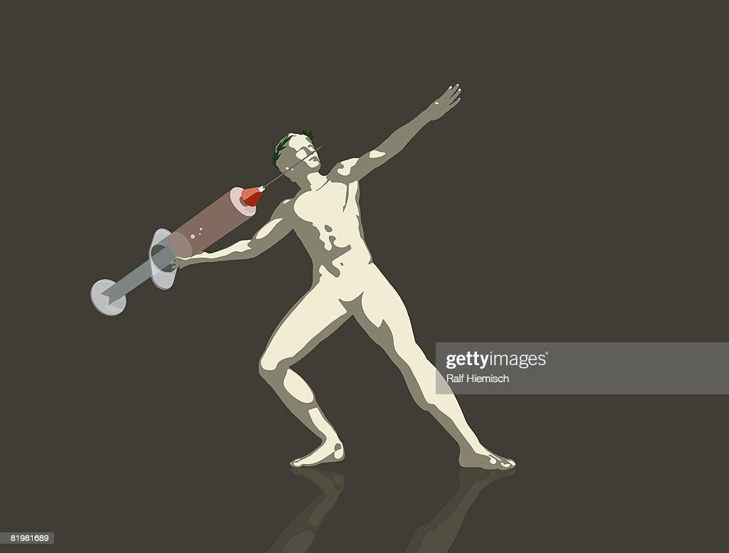 An . athlete throwing a syringe : stock illustration