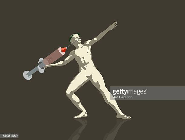 an . athlete throwing a syringe - javelin stock illustrations