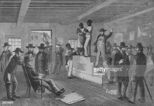 Slave auction in Virginia, USA. A black family are being auctioned. A newspaper, The New York Herald, lies on the floor.