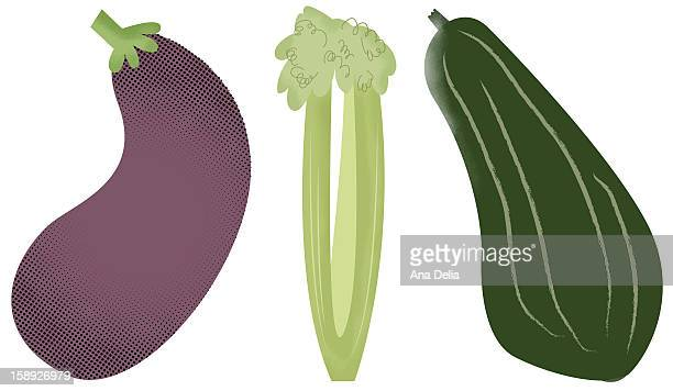 an eggplant, celery, and zucchini - marrom stock illustrations