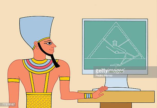 stockillustraties, clipart, cartoons en iconen met an egyptian giving a presentation on the layout of the pyramid - pedo