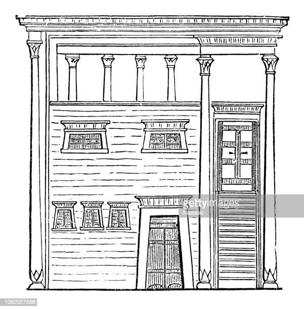 ilustrações, clipart, desenhos animados e ícones de uma casa egípcia do lado de fora - pediment