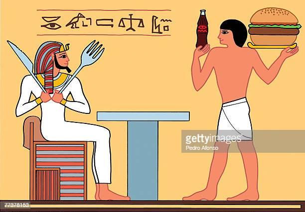 stockillustraties, clipart, cartoons en iconen met an egyptian pharaoh dining at a fast food restaurant - pedo