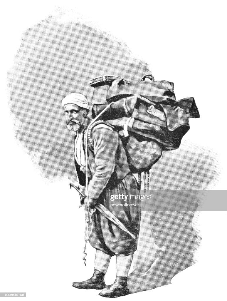 Eine ägyptische Porter in Kairo, Ägypten - Ottoman-Reich : Stock-Illustration