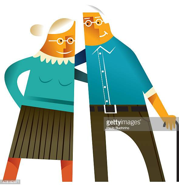 An elderly couple against white background