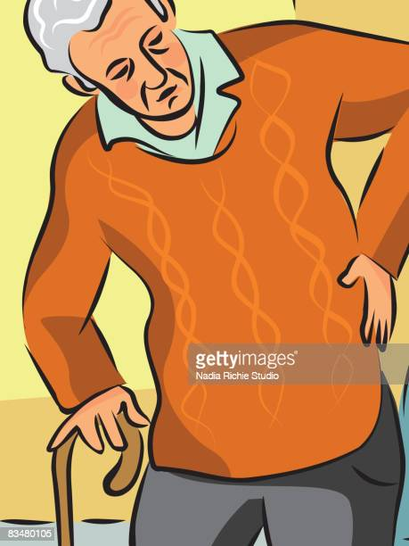 an elderly man with a cane holding his back as he stands from his chair - human back stock illustrations, clip art, cartoons, & icons