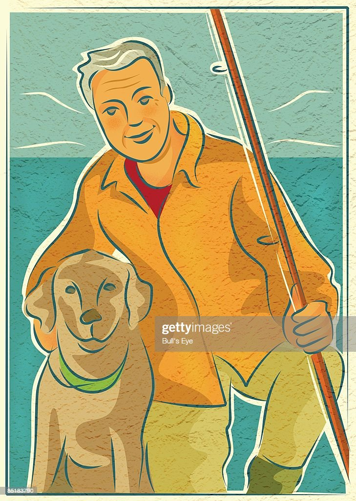 An elderly man with his dog and a fishing rod by the water : Stock Illustration