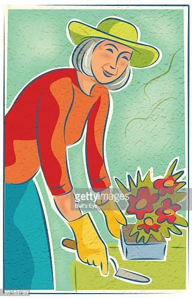 ilustraciones, imágenes clip art, dibujos animados e iconos de stock de an elderly woman potting flowers - mujeres ancianas solamente