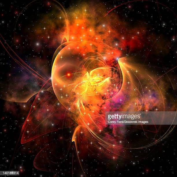 an emission nebula out in space forming stars and galaxies. - signal flare stock illustrations, clip art, cartoons, & icons