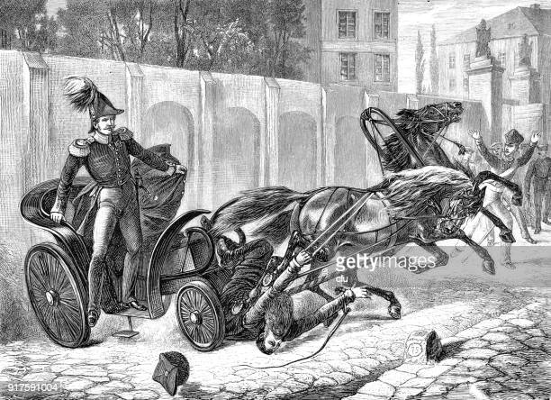 an emperor's horse-drawn coachman falls out of his seat because of scared horses - 1877 stock illustrations, clip art, cartoons, & icons