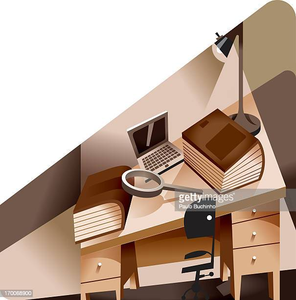 ilustrações de stock, clip art, desenhos animados e ícones de an empty desk - buchinho