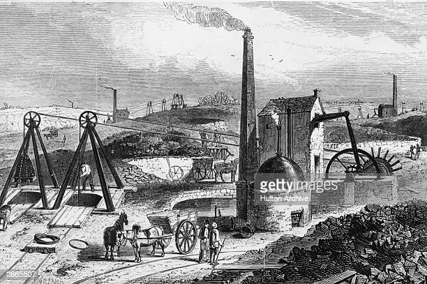 An engine drawing coal, or a coal 'whimsey', at the Staffordshire Collieries.