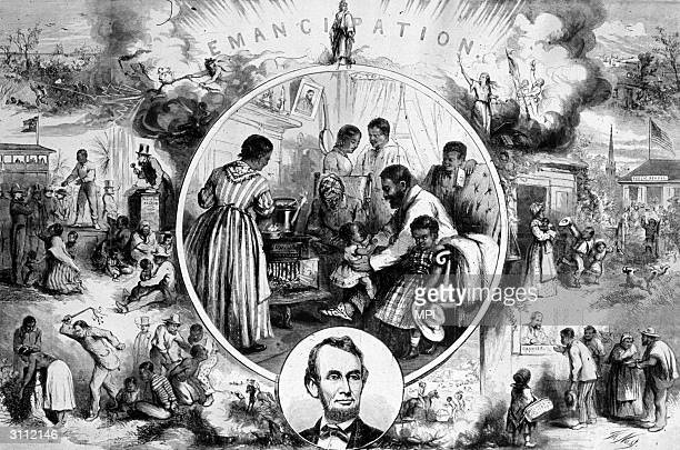 An engraving after Thomas Nast celebrating the emancipation of the slaves