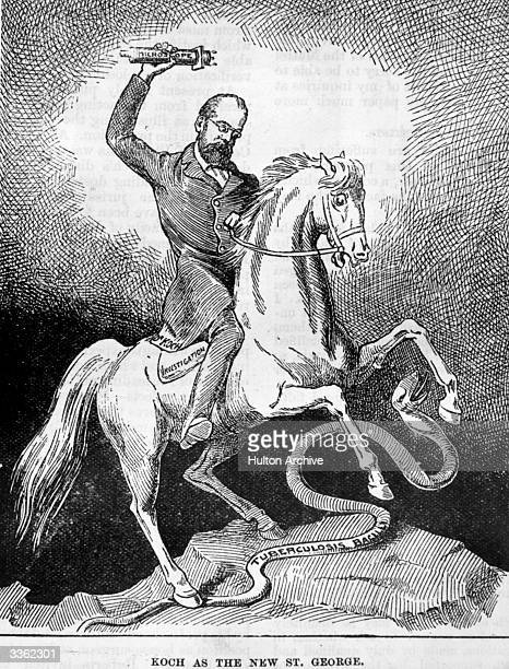 An engraving depicting German Bacteriologist Robert Koch as the new Saint George after he isolated the bacillus of tuberculosis. Original...