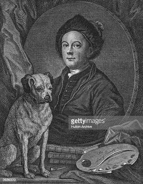 An engraving from a selfportrait by William Hogarth English painter and engraver circa 1748