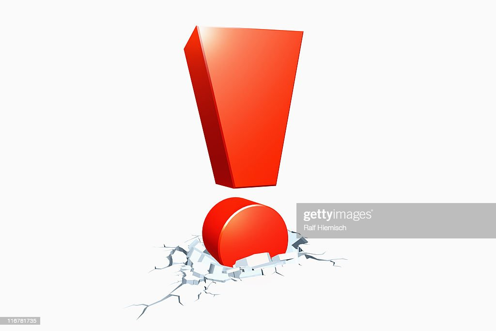 An exclamation point so strong it cracked concrete : Stock Illustration